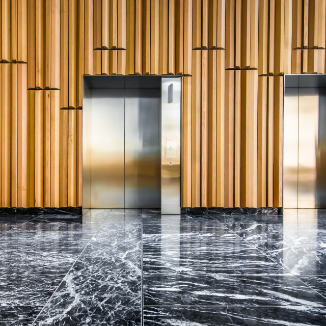 """A modern lift lobby with black and white marble floor and modern wood wall panelling"" stock image"