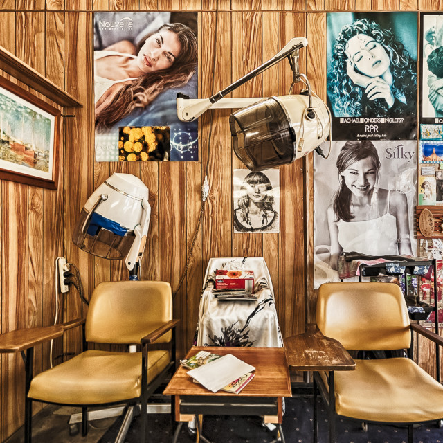 """Vintage Barber Shop interior unchanged for decades"" stock image"