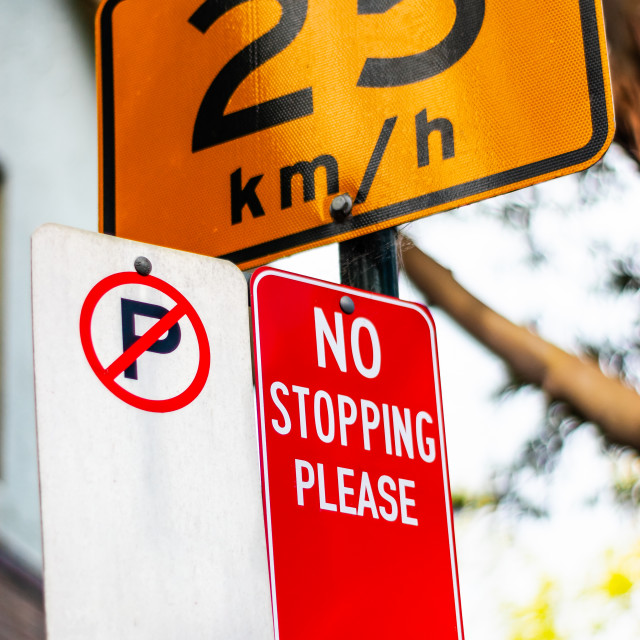 """No Parking, No Stopping and Speed Limit road signs in Australia"" stock image"
