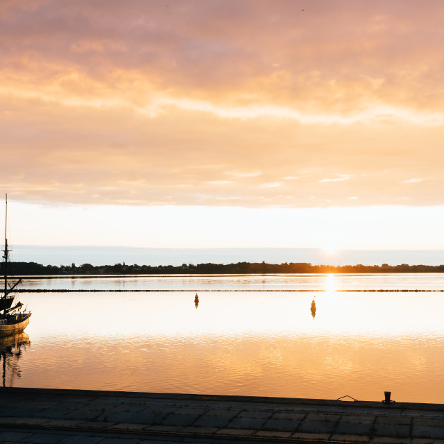 """""""Stunning view of the harbour of Stralsund at sunrise"""" stock image"""