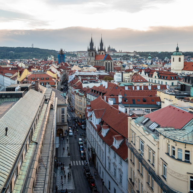"""""""High angle view of historic centre of Prague"""" stock image"""