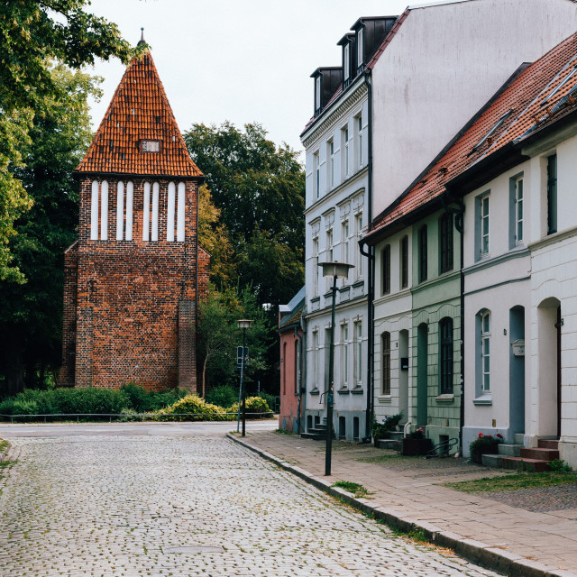 """""""Last Tower or Water Tower monument in historic centre of Wismar, Germany"""" stock image"""