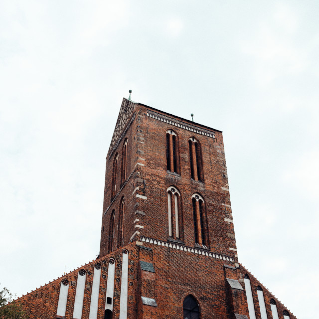 """""""Low angle view of the facade of the church of Saint Nicholas in Wismar, Gemany"""" stock image"""