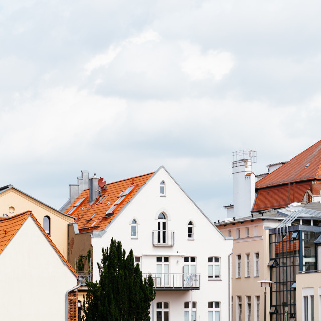 """""""Cityscape of historic European town, Wismar, Germany"""" stock image"""