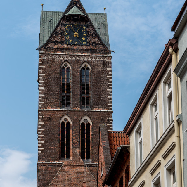 """""""Tower of St Mary Church in historic centre of Wismar"""" stock image"""