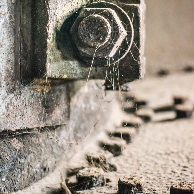 """Cobwebs hang off a piece of dust covered industrial equipment as it rusts in an old abandoned industrial factory"" stock image"
