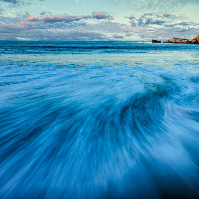 """""""Dawn View of Wave, Seacliff Beach"""" stock image"""