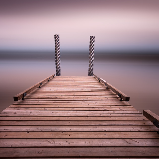 """The jetty on Comox Lake"" stock image"