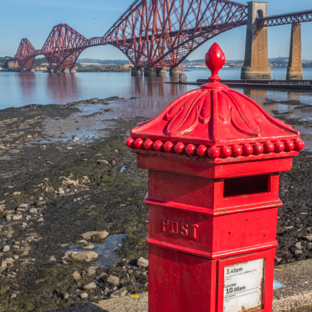 """British Postbox And Forth Bridge"" stock image"