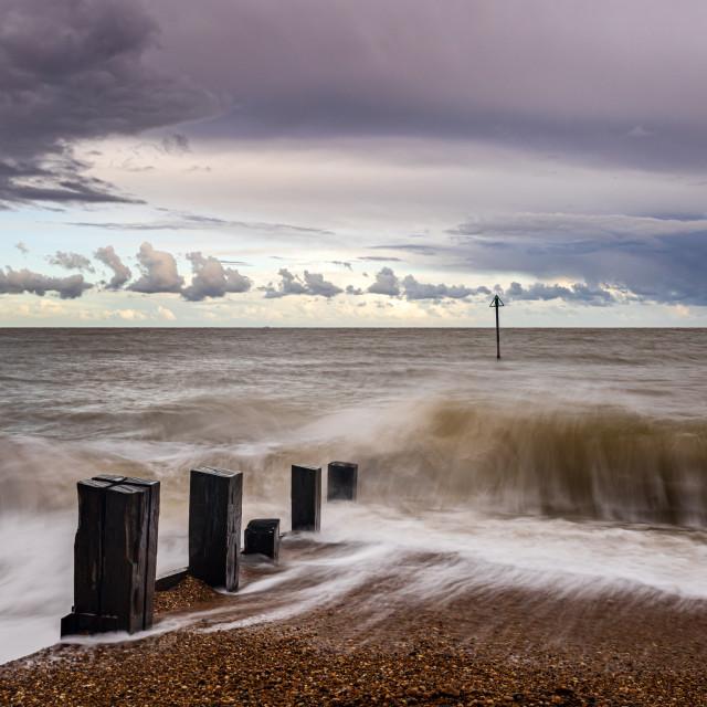 """Turbulent Waves, Felixstowe, Suffolk"" stock image"