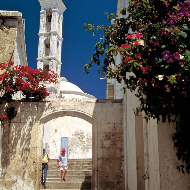 """""""Streetscene in Kyrenia"""" stock image"""