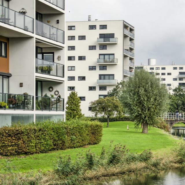 """""""Modern white residential buildings"""" stock image"""