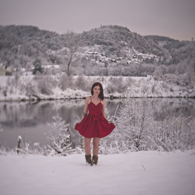 """""""In red dress in the winter"""" stock image"""
