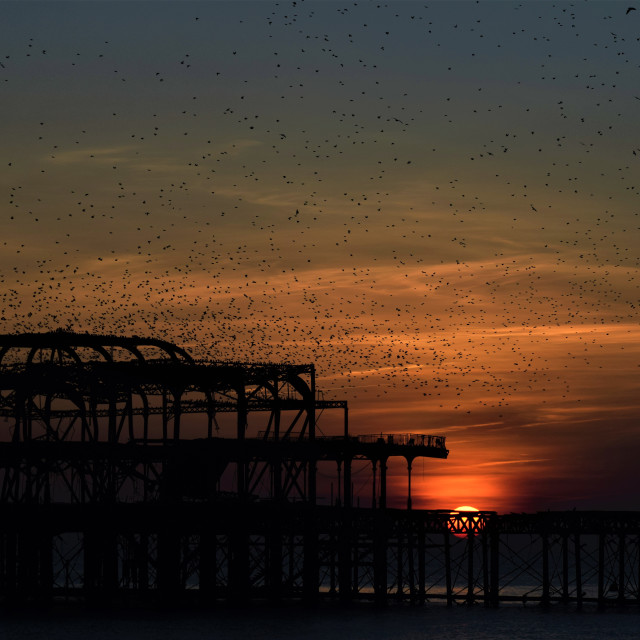 """""""West Pier at sunset"""" stock image"""