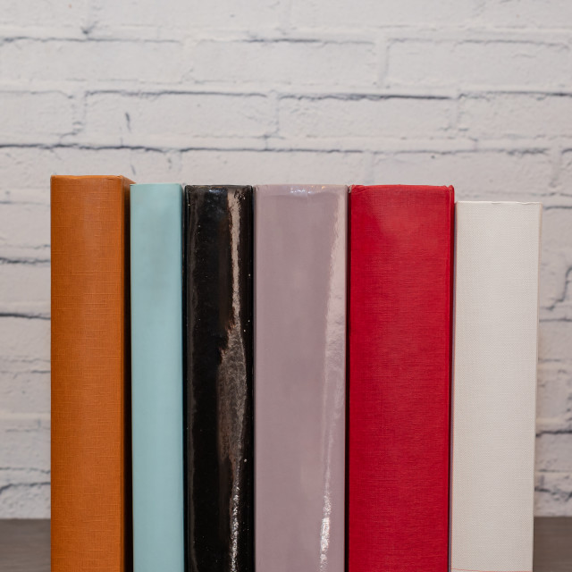 """""""Six books of different colors resting on a dark wooden shelf"""" stock image"""