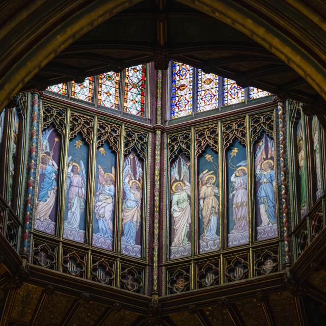 """""""The Octagon Tower from Ely Cathedral, Cambridgeshire UK."""" stock image"""