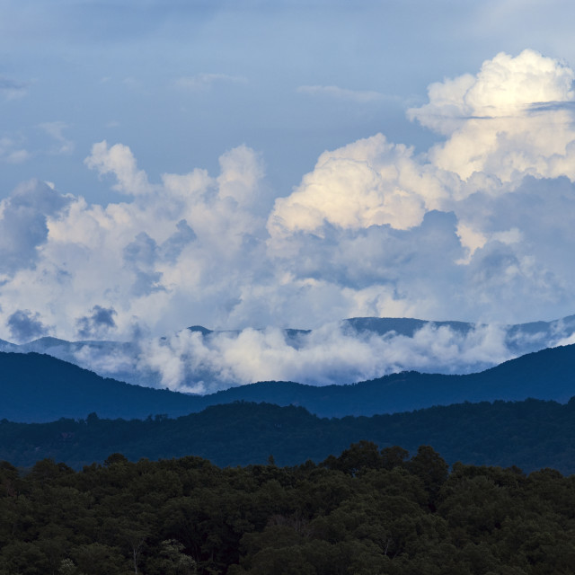 """""""CLOUDS BUILD OVER THE BLUE RIDGE MOUNTAINS, NORTHWEST GA, USA"""" stock image"""
