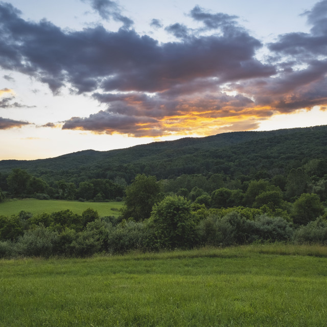 """""""Outdoors at sunset in the green lush mountains."""" stock image"""