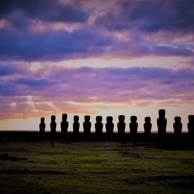"""Easter island Sunrise Ahu Tongariki"" stock image"