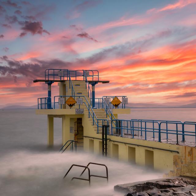 """""""Sunset Solitude - Blackrock Diving Board"""" stock image"""