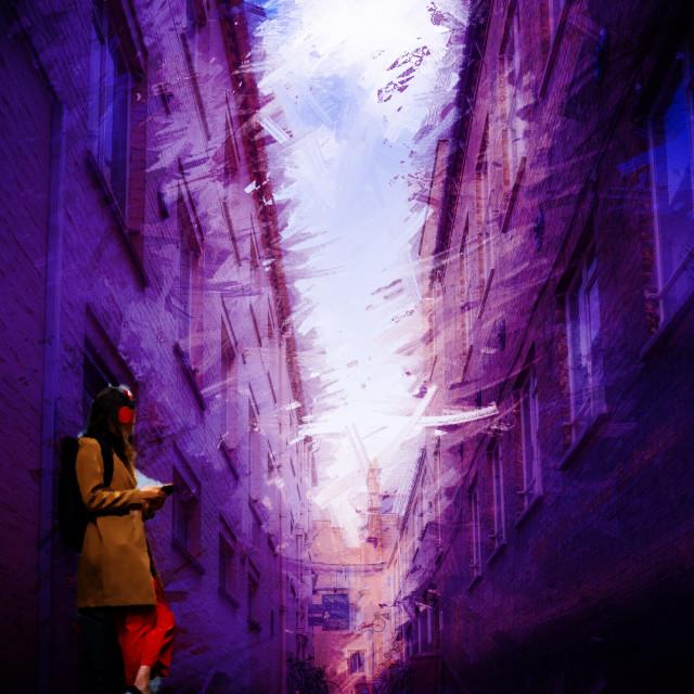 """Laundress Lane in watercolour, Cambridge UK."" stock image"