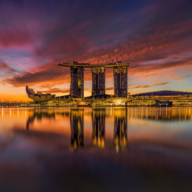 """""""Sunrise over the Marina Bay Sands Hotel"""" stock image"""