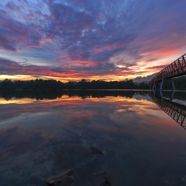 """Sunrise at the Halus Bridge"" stock image"