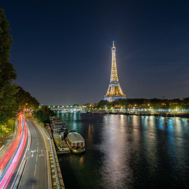 """Eiffel tower and Seine river"" stock image"