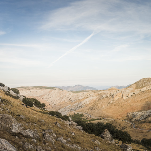 """Scenic mountain landscape, near Ronda, Andalucia, Spain."" stock image"