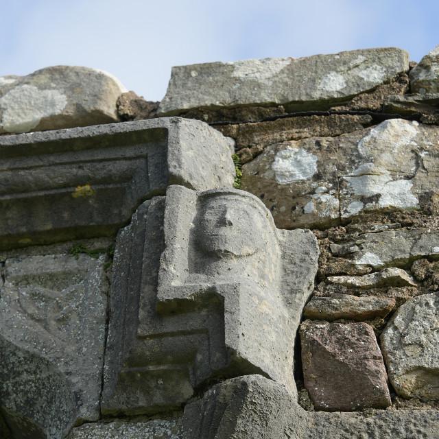 """""""Carved Head, Burrishoole Abbey, Co. Mayo"""" stock image"""