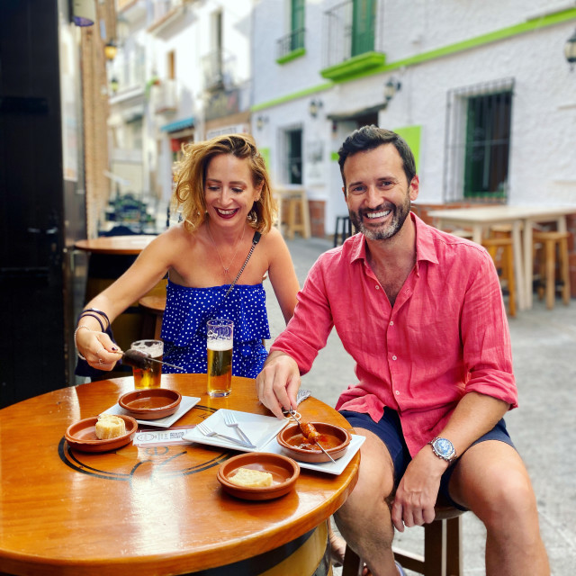 """""""Couple enjoying Spanish tapas"""" stock image"""