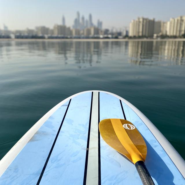 """Paddle boarding in Dubai"" stock image"