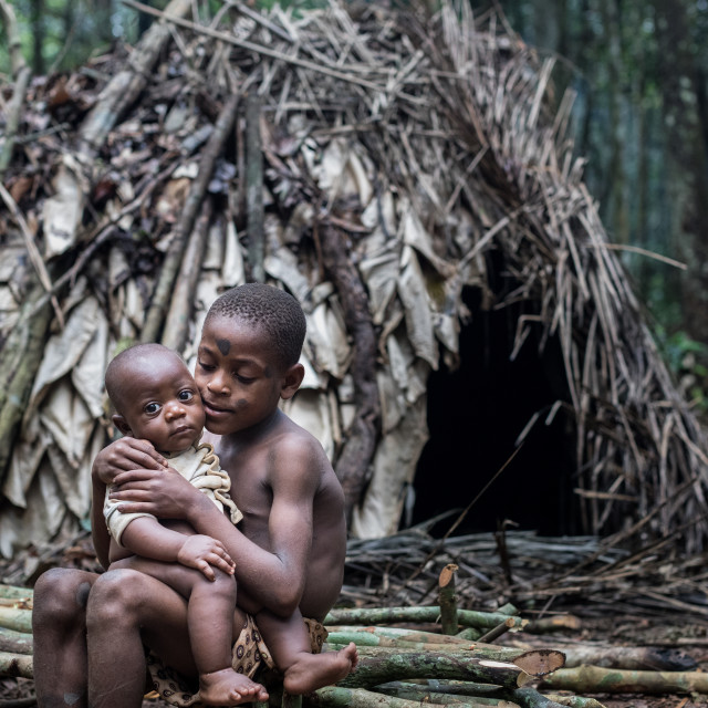"""Young baka in the jungle of Cameroon"" stock image"