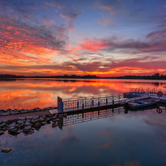 """Sunset at the reservoir"" stock image"