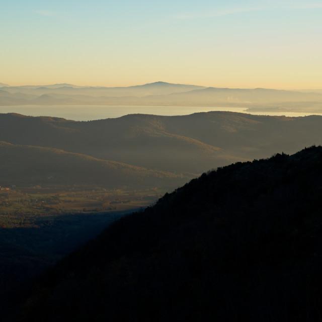 """Lake Trasimeno from Cortona"" stock image"