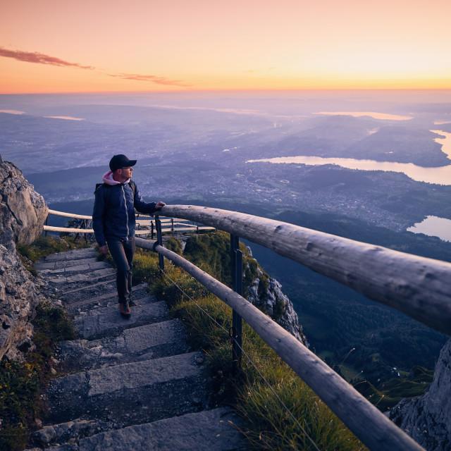 """""""Man walking on mountain footpath"""" stock image"""