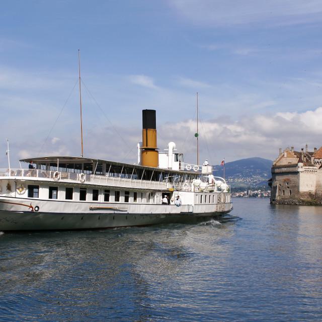 """""""Chateau de Chillion, Montreux, Switzerland"""" stock image"""