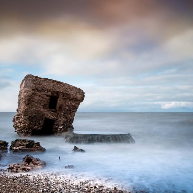 """Half-ruined house at sea"" stock image"