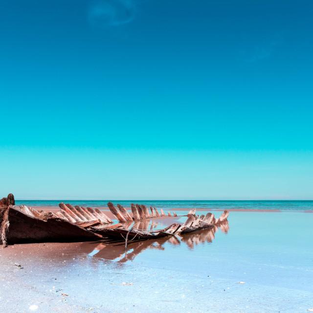 """""""Boat wreck at sea"""" stock image"""