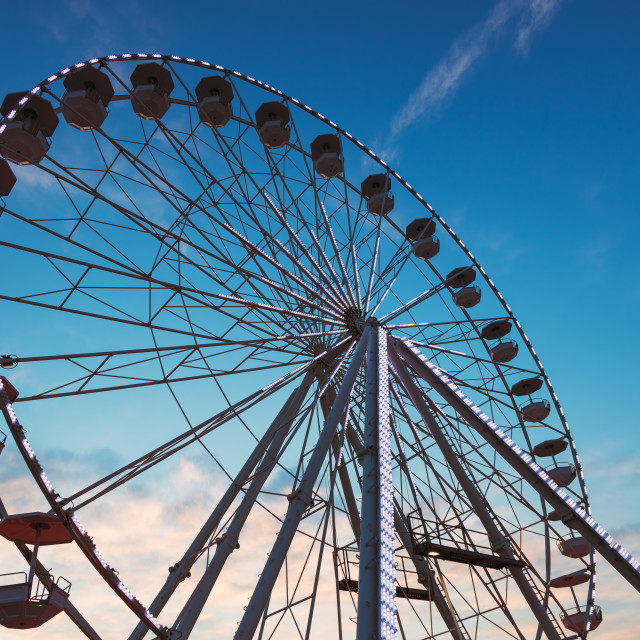 """""""Ferris Wheel with sunset sky and clouds"""" stock image"""
