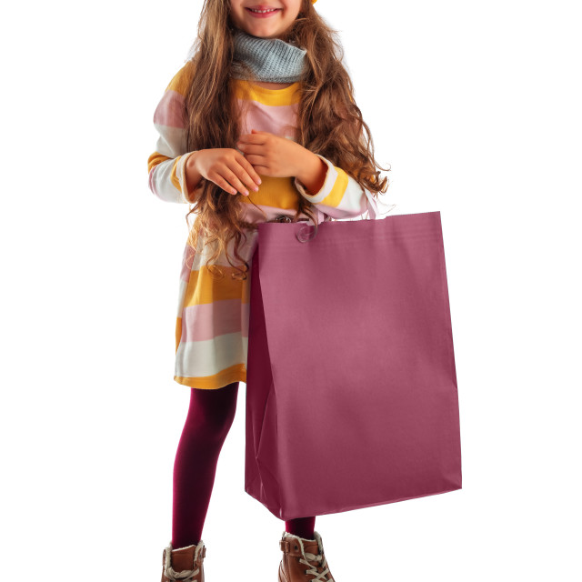 """""""Happy beautiful young girl with shopping bag, portrait on white"""" stock image"""