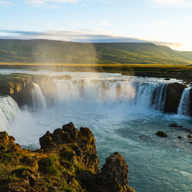 """Goðafoss Waterfall at Sunset in Iceland"" stock image"