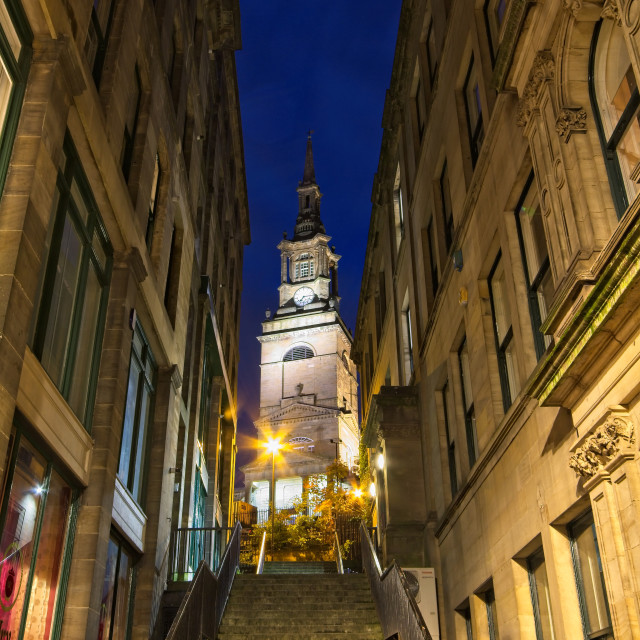 """""""Steps to All Saints Church, Newcastle"""" stock image"""