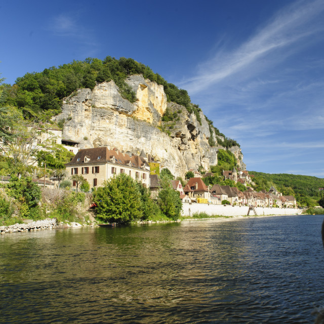 """River Dordogne at La Roque Gageac, France"" stock image"