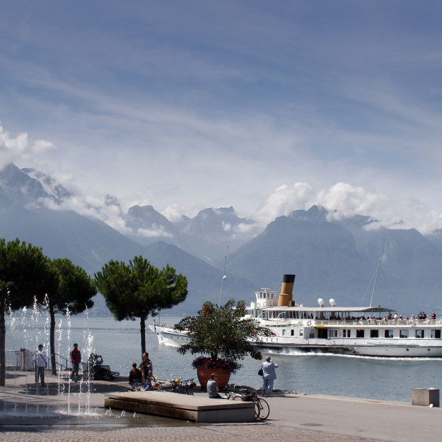 """French Alps across Lake Geneva from Montreux, Switzerland"" stock image"