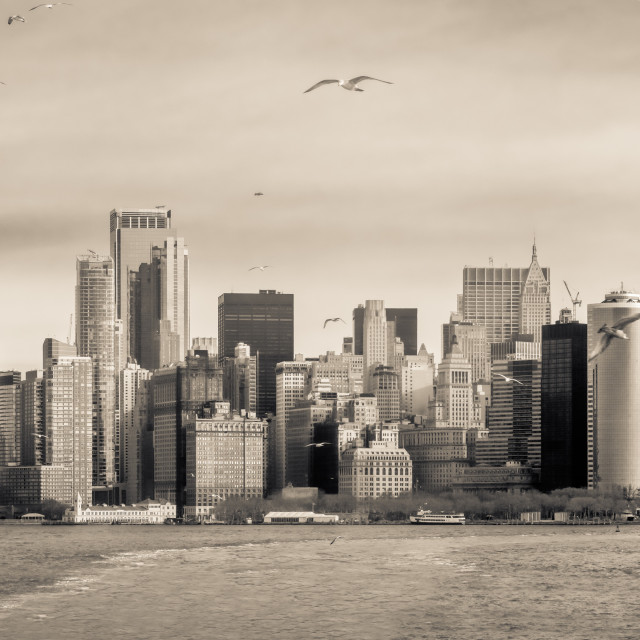 """Sepia Manhattan Panorama"" stock image"