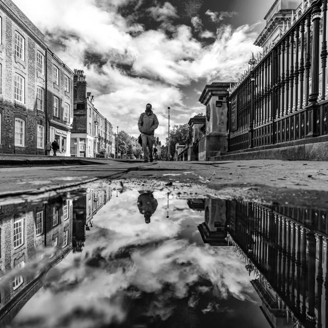 """Black and White Reflections from Trumpington Street, Cambridge UK."" stock image"