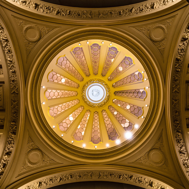 """""""Dome Ceiling from gallery 4, Fitzwilliam Museum, Cambridge UK."""" stock image"""