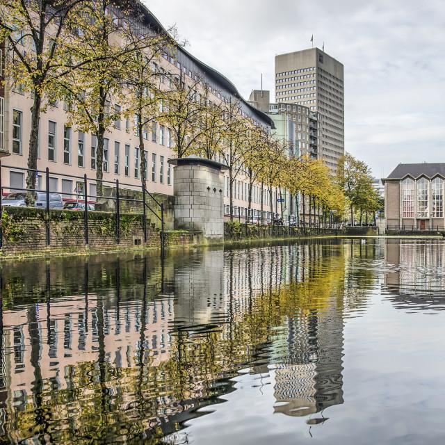 """Rotterdam Delftsevaart canal in autumn"" stock image"