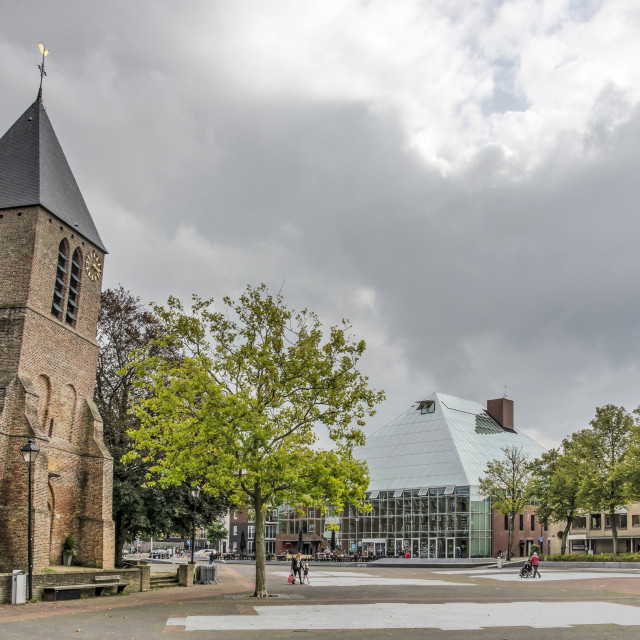 """""""Spijkenisse church and library"""" stock image"""
